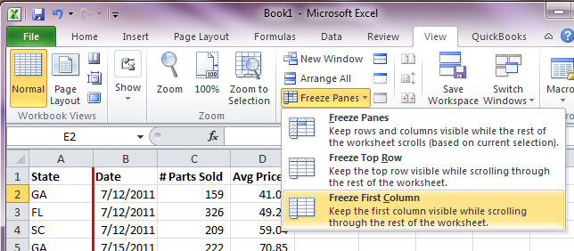 Excel Freeze Panes - LeftColumn