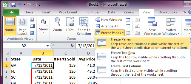 Excel Freeze Panes - Multiple