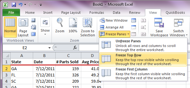 Excel Freeze Panes - TopRow