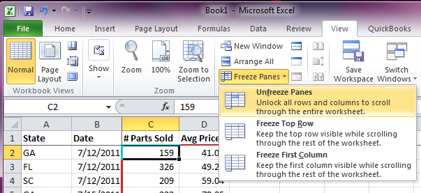 Excel Freeze Panes - Unfreeze